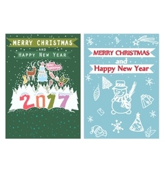 Happy New Year Merry Christmas Family holidays vector image vector image
