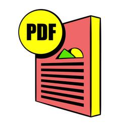 pdf file icon cartoon vector image vector image