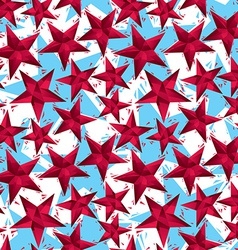 Red stars seamless pattern geometric contemporary vector image