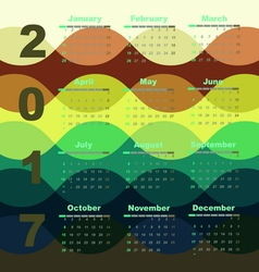 Colorful wave 2017 calendar template vector image