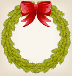 cute Christmas wreath vector image vector image