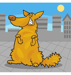 happy yellow shaggy standing dog vector image vector image