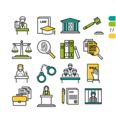 set linear judiciary colored icons vector image