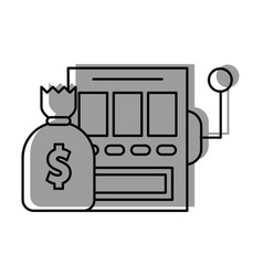 slot machine with bag money vector image vector image