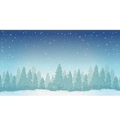 Vintage winter night forest landscape vector image