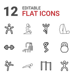 12 workout icons vector image