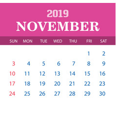 2019 calendar template - november vector image