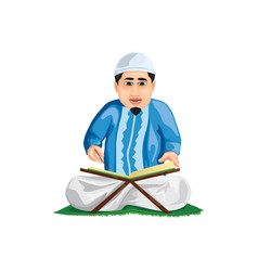 A person reading koran vector