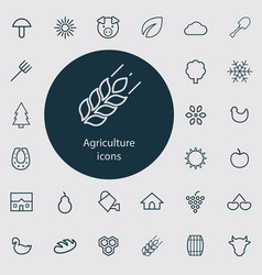 agriculture outline thin flat digital icon set vector image