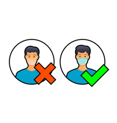 allowed mask medical people a symbol access vector image