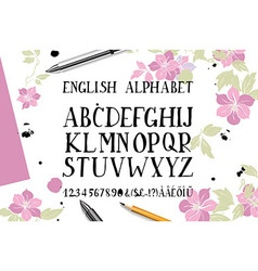 alphabet is a top view of the brush flowers vector image