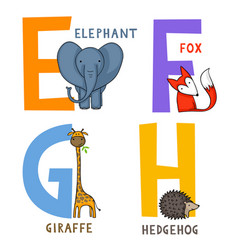 Animal alphabet e f g and h vector