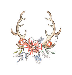 Antlers with a wreath of flowers hand drawn vector