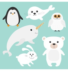Arctic polar animal set White bear owl penguin vector image