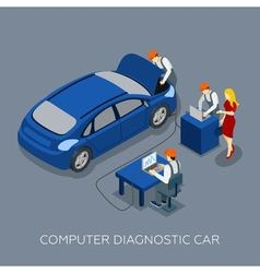 Auto Service Computer Diagnostic Isometric Banner vector