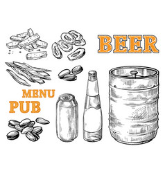 beer tower hops mug and glass vector image