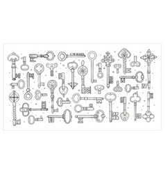 Big collection doodle vintage keys on white vector