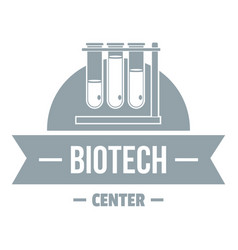 Biotech center logo simple gray style vector