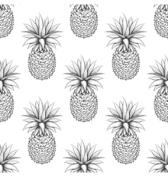 Black and white pineapple seamless pattern vector