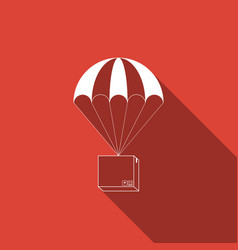 box flying on parachute icon with long shadow vector image