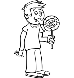 boy with lollipop cartoon for coloring vector image