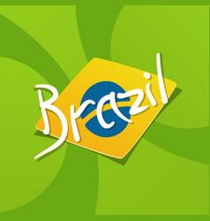 Brazil flag over green background vector