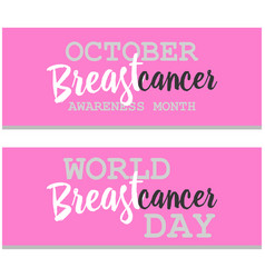 Breast cancer awareness ads banners set vector