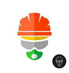 builder in a protective helmet hat glasses and vector image