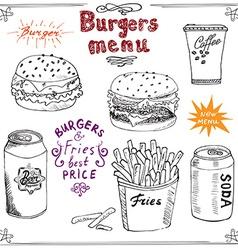 burger menu hand drawn sketch fastfood poster vector image