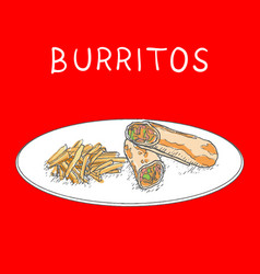 Burritos with fried potatoes hand drawn on white vector