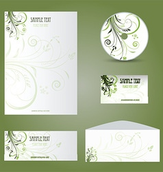 Business stationery layout with floral design vector image