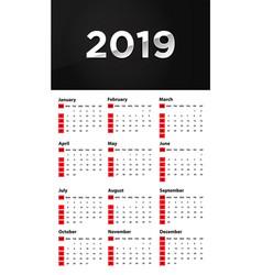 calendar design 2019 vector image