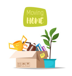 cardboard boxes with home stuff vector image