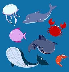 Cartoon sea Animals set dolphine whale shark in vector