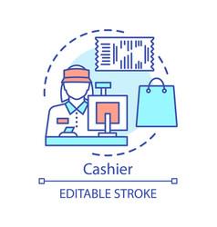 Cashier concept icon shop employee idea thin line vector