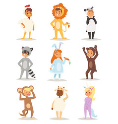 Children wearing fancy dress costumes animals vector