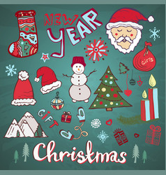 Christmas doodle hand-drawn collection new year vector