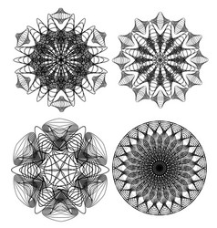 Circle lace patterns design elements in black vector