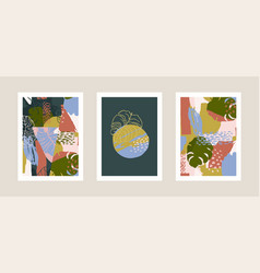 collection art prints with abstract tropical vector image