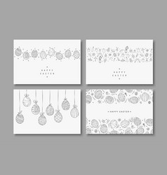 collection of happy easter cards hand drawn vector image