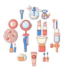 Cosmetics icons set cartoon style vector