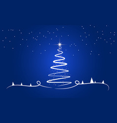 creative christmas tree with glitter background vector image