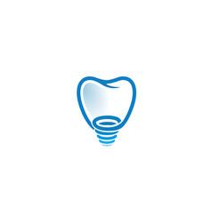 creative tooth screw logo vector image