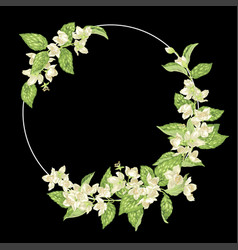 decor element with jasmine in a shape of a ring vector image