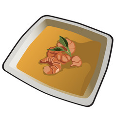 delicious soup with shrimp on white porcelain vector image