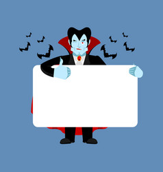 dracula holding banner blank vampire and white vector image