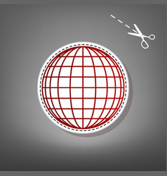earth globe sign red icon with for vector image