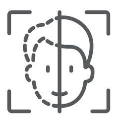 Face id line icon face recognition and face vector