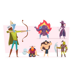 fantasy characters fairytale humans and creatures vector image