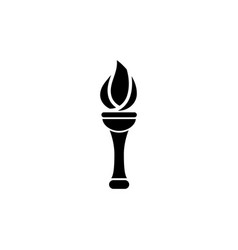 flaming torch olympic ceremonial fire flat icon vector image